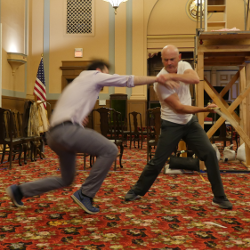 Stage combat lesson with swords